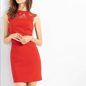 Red Sleeveless Lace Yoke Sheath Dress